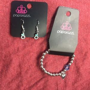 Paparazzi Silver bead bracelet diamond earrings